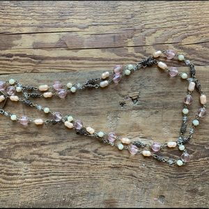 Long layered pink beaded necklace